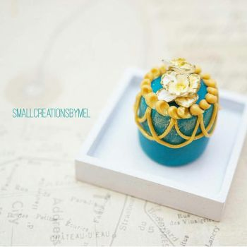 Teal and Gold Cake 2 by SmallCreationsByMel