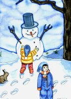 Snowy the snowman by Failin
