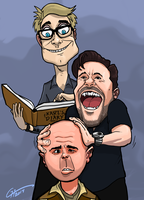 Ricky Gervais, Stephen Merchant, Karl Pilkington by Garrenh