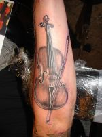 violin tattoo by asussman