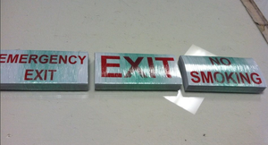 Emergency, Exit and warning signs by Hannele-Kahkonen