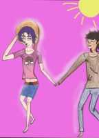 Murdoc and 2D: Come on Mudz! Lets Go to the Beach! by 564223gurl