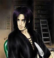 Younger Severus in the library by Aragon-san