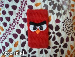 Red angry bird case by ArteFriki