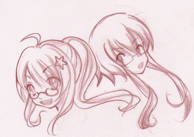 Sketch- Miharu and Haruhi by KimKimsGalore