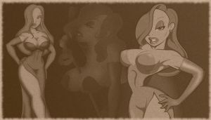 Jessica Rabbit comp. Wallpaper by dinohunterx