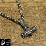 Large Viking Hammer Mjolnir on Viking Braid Chain by GoodSpiritWolf