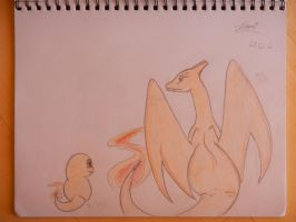 Charizard and Charmander by rosey996