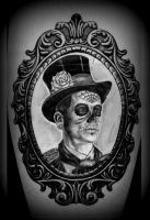 day of the dead Man in Frame tattoo design by CalebSlabzzzGraham