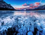 Abraham lake sunset panorama by CNaene