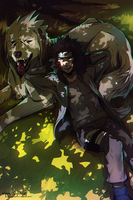 Kiba and Akamaru by AgentWhiteHawk