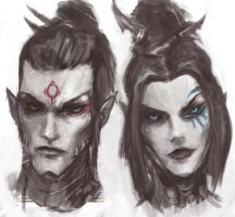 Dark Eldar: Alaktel and Shyntafae by Beckjann