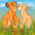 Simba and Nala in the Grass by LionKingPride