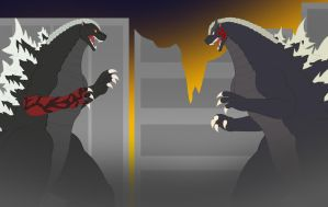 King of the Monsters vs God of Destruction by Pyrus-Leonidas