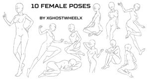 10 female poses by xghostwheelx