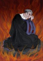 Frollo Trapped in His Hellfire by Lady-in-Ink