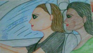 Yana and Steffie in the car by artluvr4life