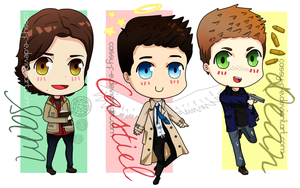 Chibi Sam, Dean and Castiel by Cassy-F-E