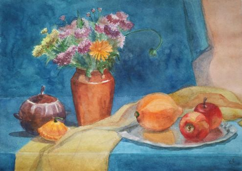 Still life with flowers and pot by Luzblanca