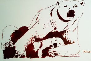 Polar Bear and Cub Stencil by abcartattack