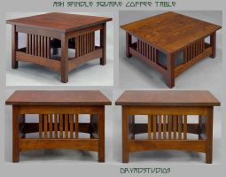 Ash spindle sqr coffee table by DryadStudios