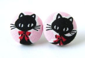 Cat earrings kawaii children kids cute black pink by KooKooCraft