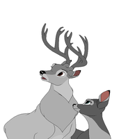 Bambi Base: Stag and Doe in love by FallenFireFox