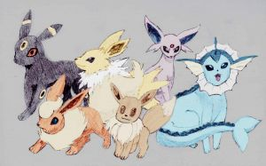 Eevee Evos coloured by Deluxe0111