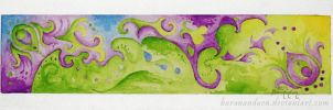 Abstract: Seascape in Green and Purple by barananduen