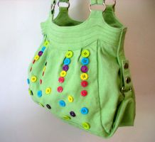 Upcycled Green Button Purse 1 by jloli