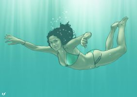 Meili in the water by luisilustra