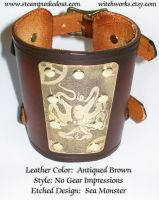 Wristcuff - Etched Sea Monster by Steampunked-Out