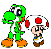 Yoshi And Toad In My Style by Bomberdrawer