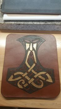 Thor's Hammer Leather Mouse Pad by TracyJDesigns