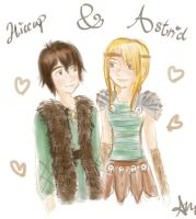Hiccup + Astrid doodle by finelia-chan