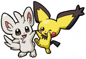 Chiramii and Pichu by methuselah-alchemist