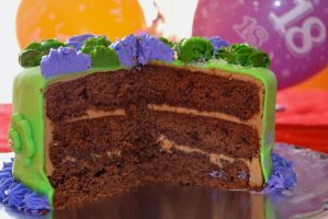 Chocolate layer cake with Caramel Frosting by Lily-Gangsta