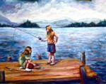 Girls Fishing by Wulff-Arts