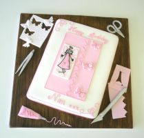 Card making enthusiast cake by Dragonsanddaffodils