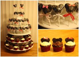 Mickey and Minnie Pops and Cupcakes by katrivsor