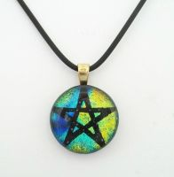 Blue, Green, Yellow Fused  Dichroic Glass Pentacle by poisons-sanity