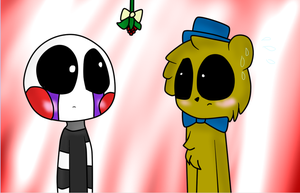 FNAF Golden Freddy x Puppet Under the Mistletoe by Marbar23