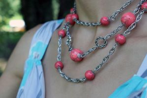 Necklace of coral beads and chain. by DafnaDar