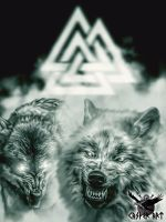 Odin's wolves Geri and Freki by thecasperart