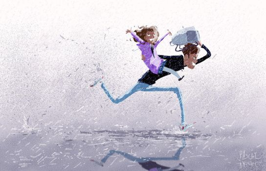 Rainy school day drop off by PascalCampion