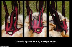 Crimson Spliced Bunny Leather Mask by Epic-Leather