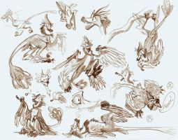 Microraptor Sketch Sheet by FablePaint