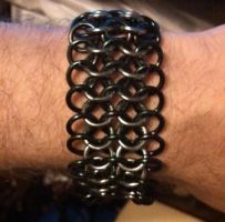 Black and Gunmetal Chainmail Cuff by ravenarcana