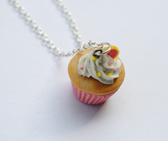 Vanilla Cupcake Necklace by ClayRunway