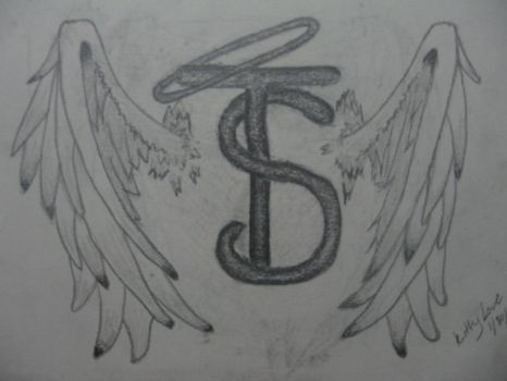 Tattoo Flash :Initials with wings and halo by Kittylovedump